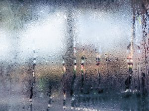 a humid area with beads of water collecting on a window